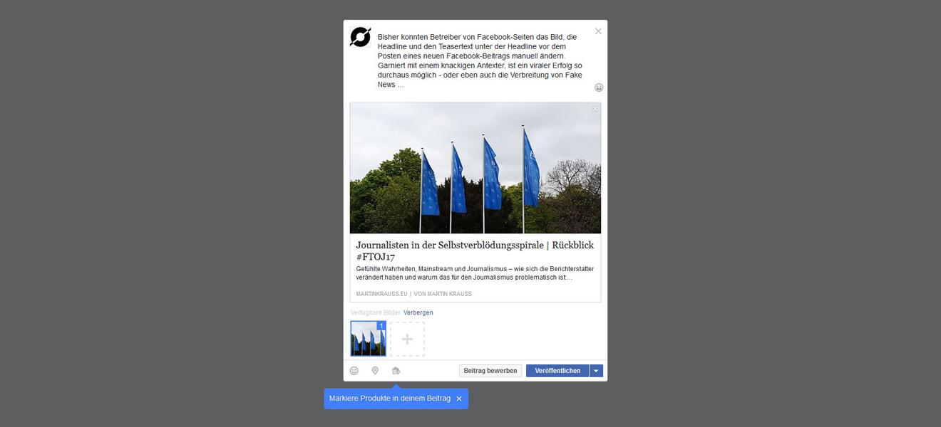 Artikelvorschau auf Facebook Seiten bearbeiten